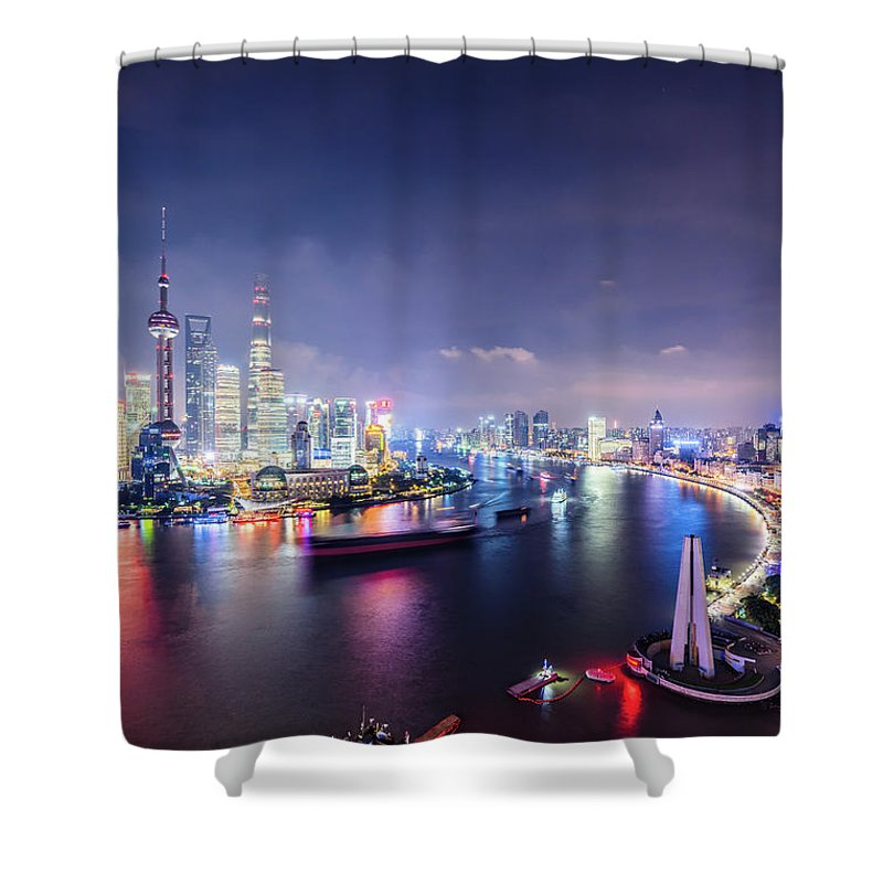 Downtown District Shower Curtain featuring the photograph Shanghai Skyline At Night by Yongyuan Dai