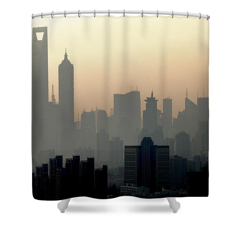 Dawn Shower Curtain featuring the photograph Shanghai Skyline Three Towers And Perl by Douglas Von Roy