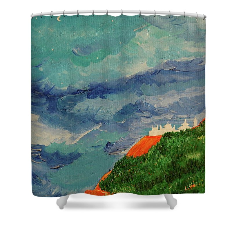 Landscape Shower Curtain featuring the painting Shangri-la by First Star Art