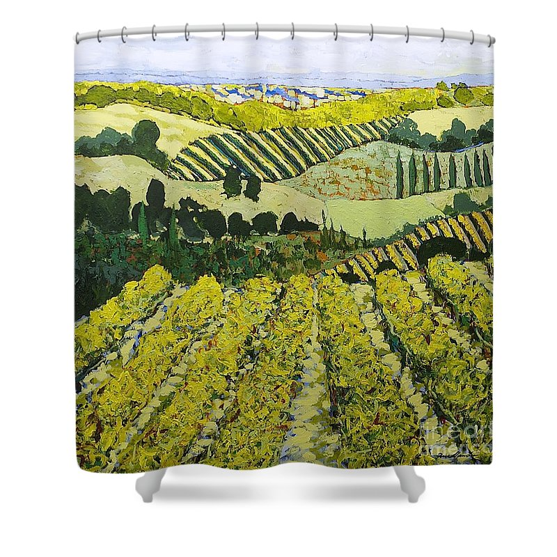 Landscape Shower Curtain featuring the painting Sharing The Discovery by Allan P Friedlander