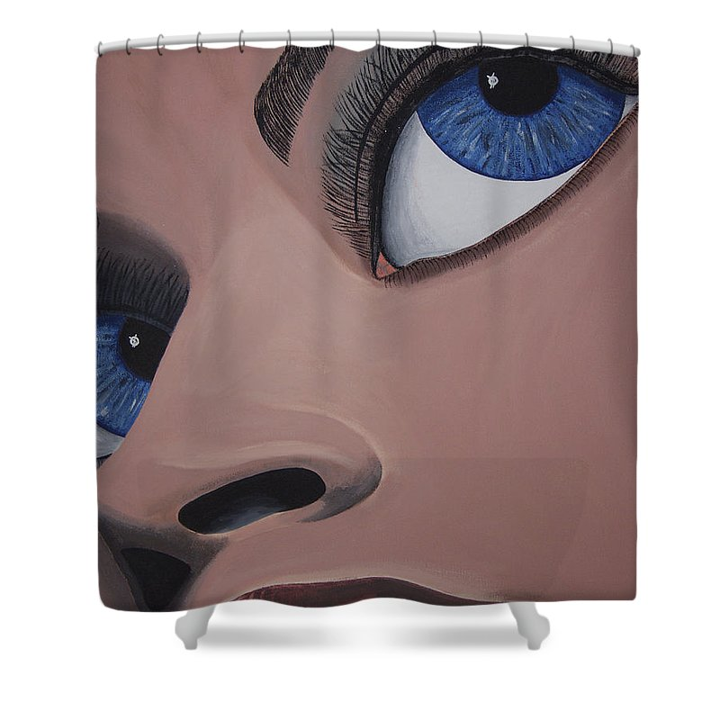 Eye Catching Shower Curtain featuring the painting SHE by Dean Stephens