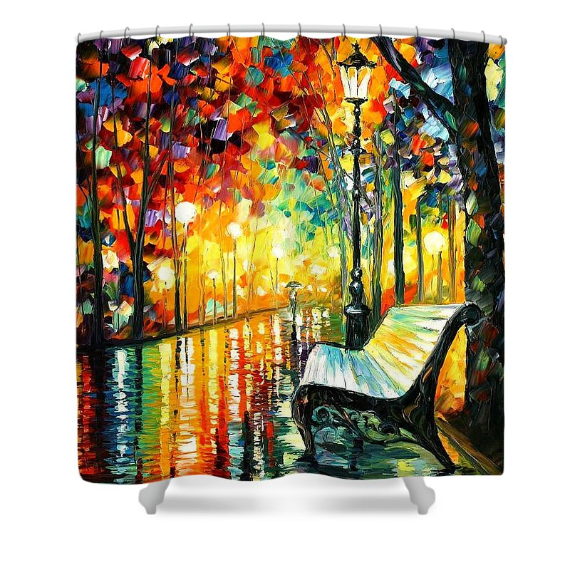 Oil Paintings Shower Curtain featuring the painting She Left... - Palette Knife Oil Painting On Canvas By Leonid Afremov by Leonid Afremov
