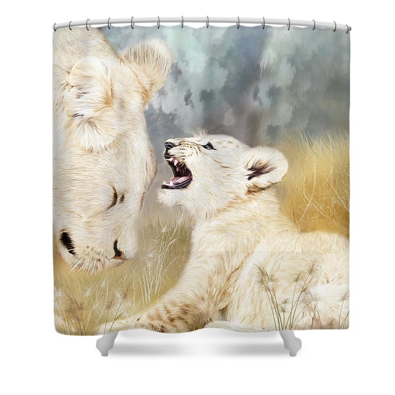 Lion Shower Curtain featuring the mixed media She Listens by Carol Cavalaris
