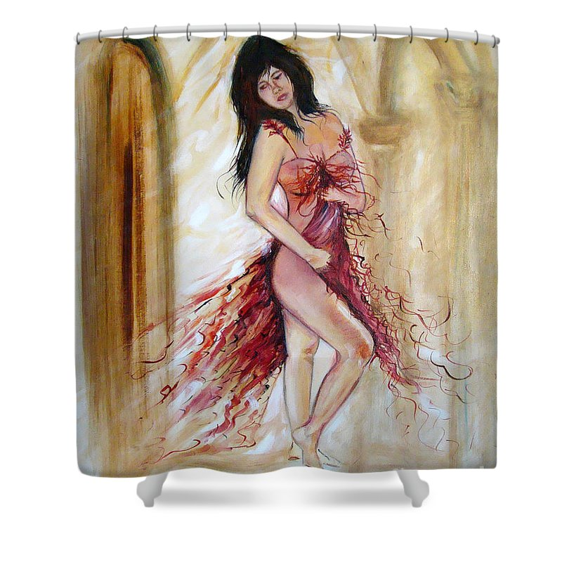 Contemporary Art Shower Curtain featuring the painting She by Silvana Abel