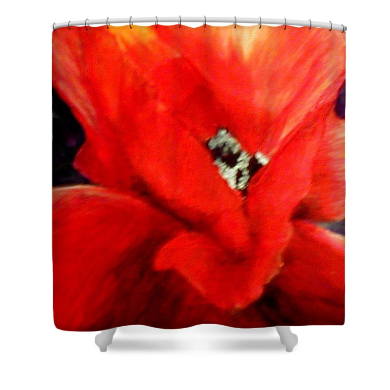 Floral Shower Curtain featuring the painting She Wore Red Ruffles by Gail Kirtz