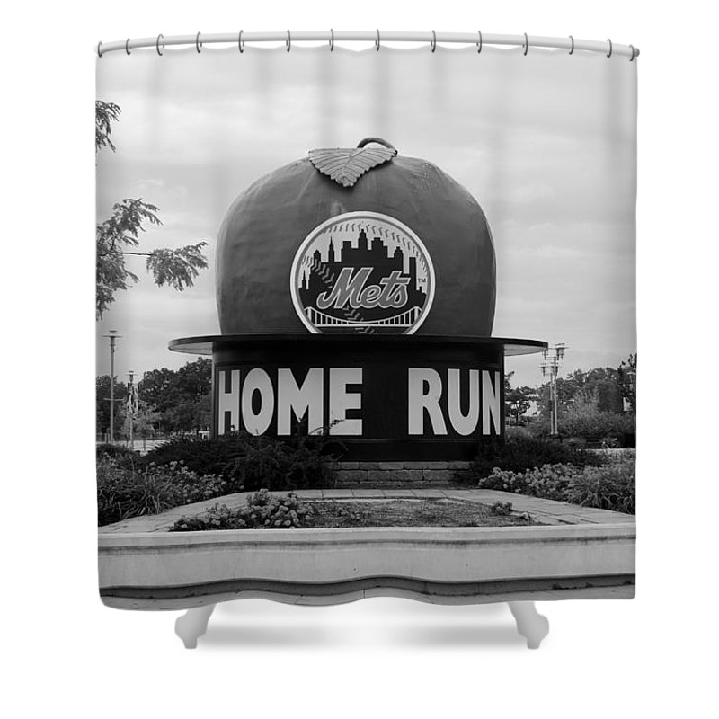 Shea Stadium Shower Curtain featuring the photograph Shea Stadium Home Run Apple In Black And White by Rob Hans