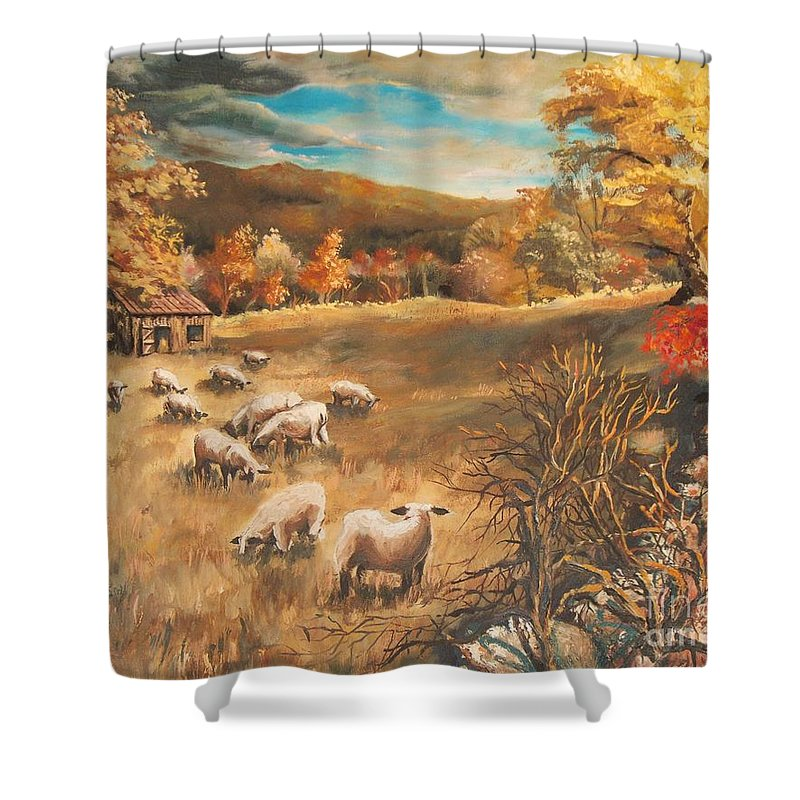 Oil Painting Shower Curtain featuring the painting Sheep in October's field by Joy Nichols