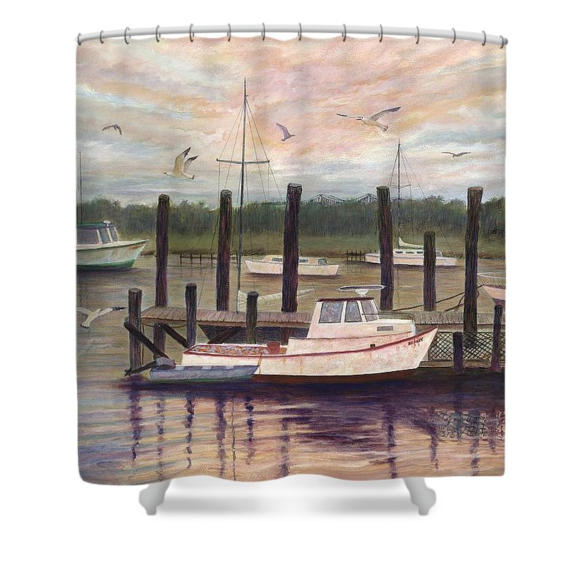 Charleston; Boats; Fishing Dock; Water Shower Curtain featuring the painting Shem Creek by Ben Kiger