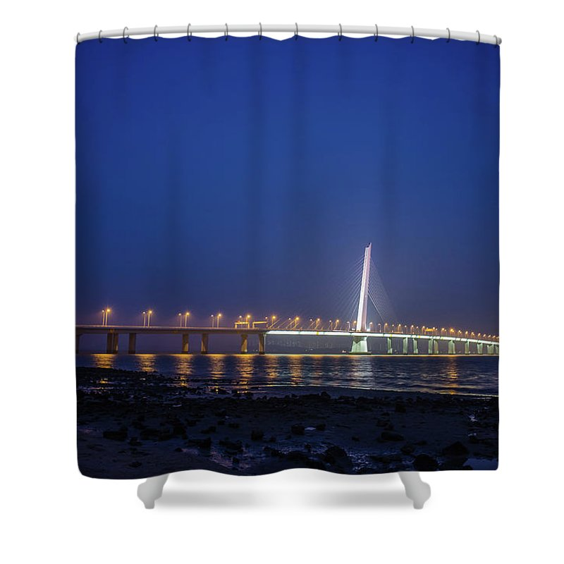 Tranquility Shower Curtain featuring the photograph Shenzhen Bay Bridge by Jeff Chen