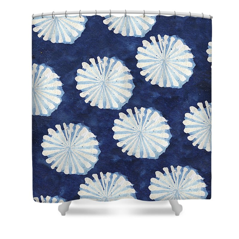 Shibori Shower Curtain featuring the digital art Shibori IIi by Elizabeth Medley