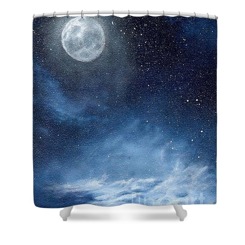 Cosmos Shower Curtain featuring the painting Shimmer by Murphy Elliott