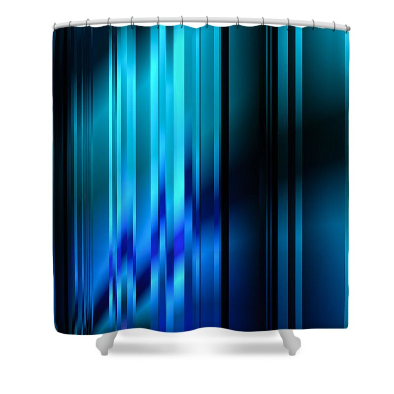 Contemporary Shower Curtain featuring the digital art Shimmering Curtain by Hakon Soreide