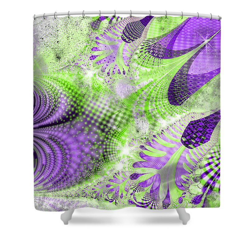 Shimmering Joy Shower Curtain featuring the digital art Shimmering Joy Abstract Digital Art by Valerie Garner