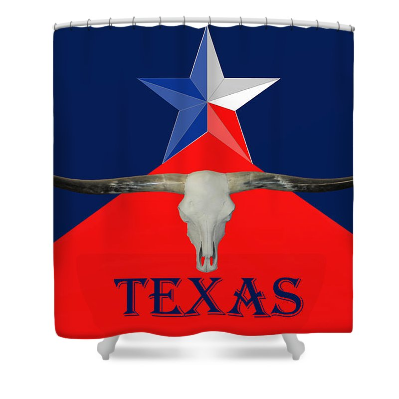 Texas Shower Curtain featuring the mixed media Shine On by G Cannon