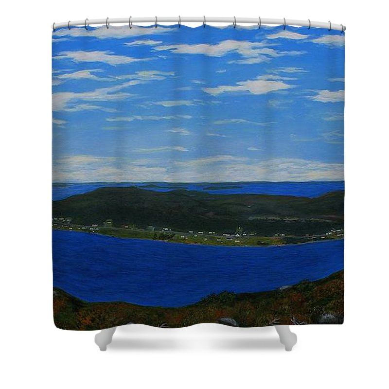 Barbara Griffin Shower Curtain featuring the painting Ship Harbour From Sugarloaf Hill by Barbara Griffin
