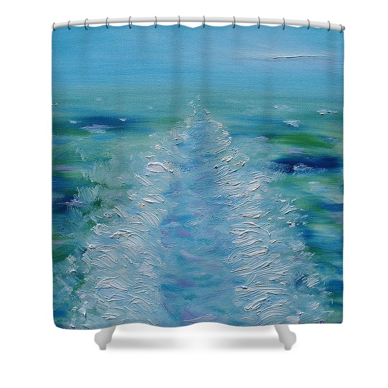 Ship Shower Curtain featuring the painting Ship's Wake by Judith Rhue