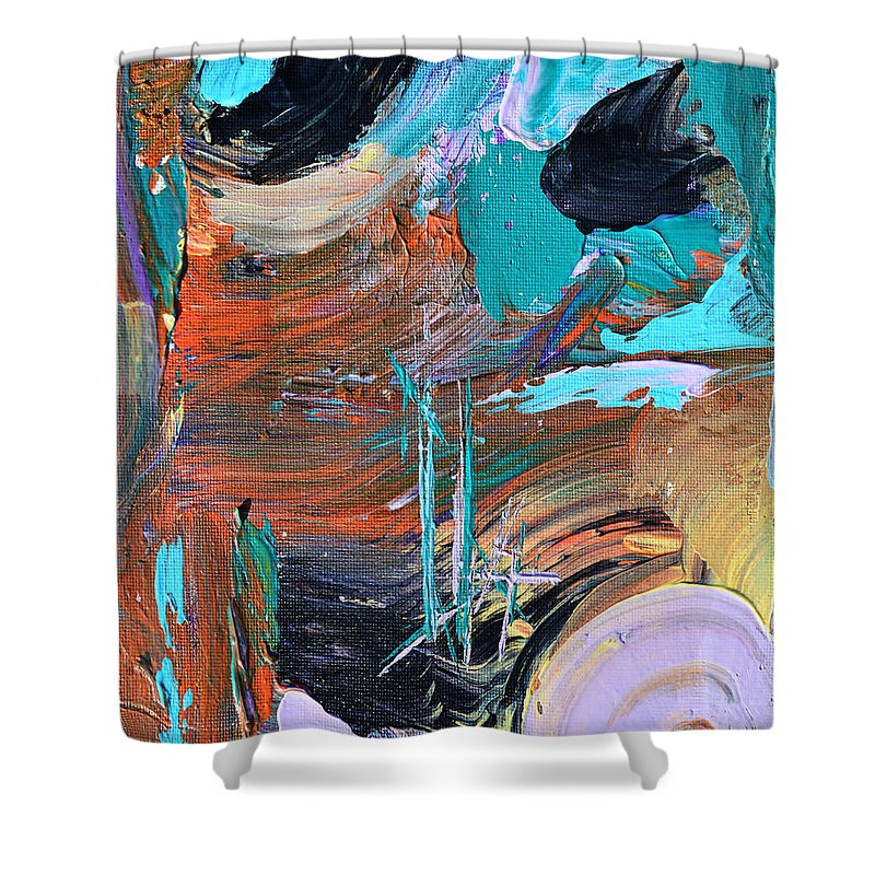 Ship Shower Curtain featuring the painting Shipwreck Harbor by Donna Blackhall