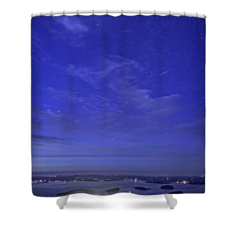 Bar Harbor Shower Curtain featuring the photograph Shooting Star Over Bar Harbor by Rick Berk