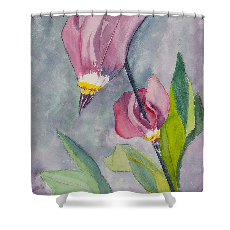 Wildflowers Shower Curtain featuring the painting Shooting Stars by Charlotte Brux-Bolinger