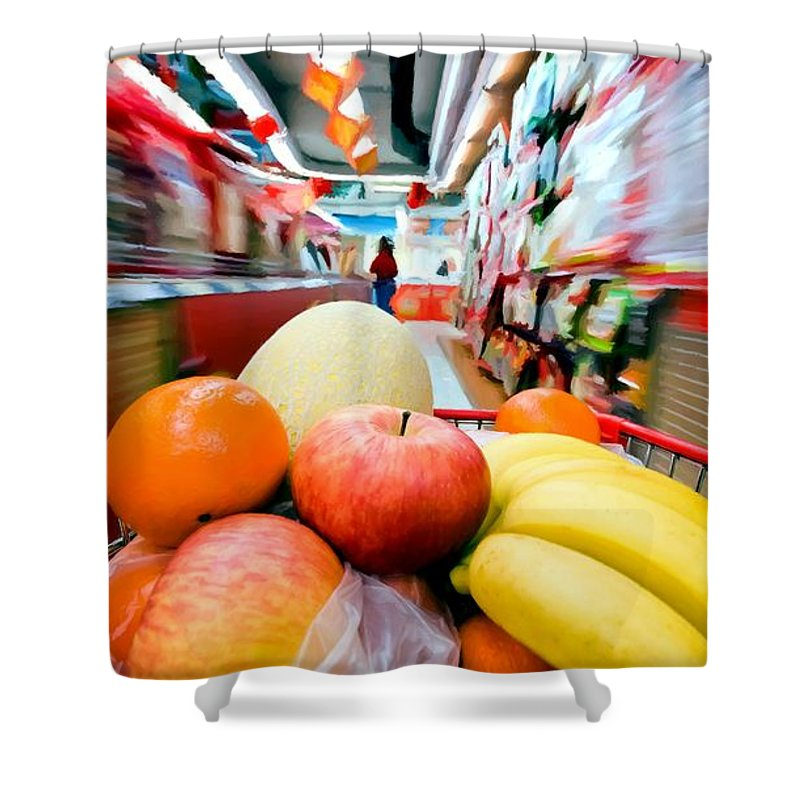 Apples Shower Curtain featuring the digital art Shopping 1 by Gabriel T Toro