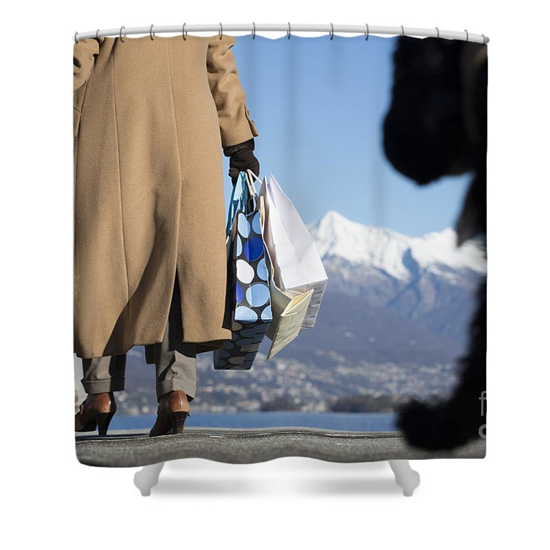 Woman Shower Curtain featuring the photograph Shopping Bags And A Dog by Mats Silvan