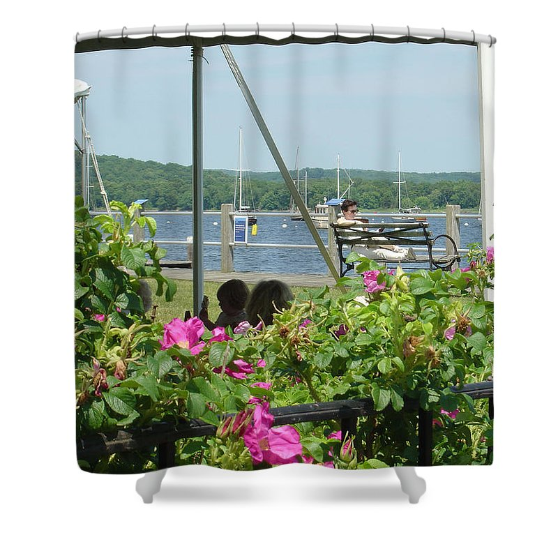 Photography Shower Curtain featuring the painting Shore Scene by Katherine Berlin