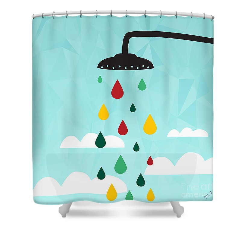 Contemporary Shower Curtain featuring the painting Shower by Mark Ashkenazi