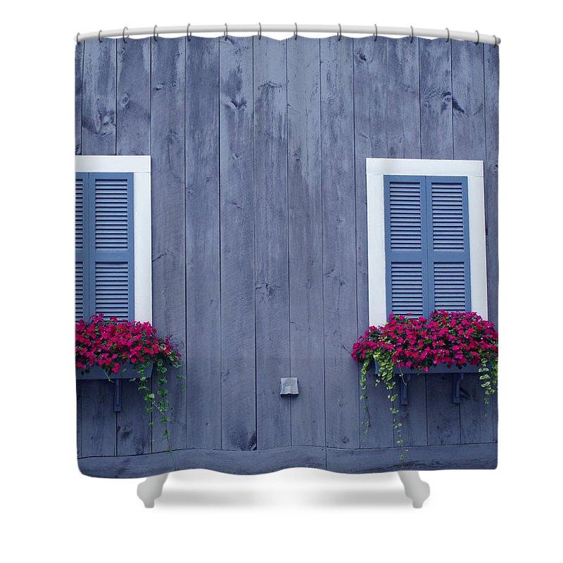 Windows Shower Curtain featuring the photograph Shuttered Twins by Barbara McDevitt