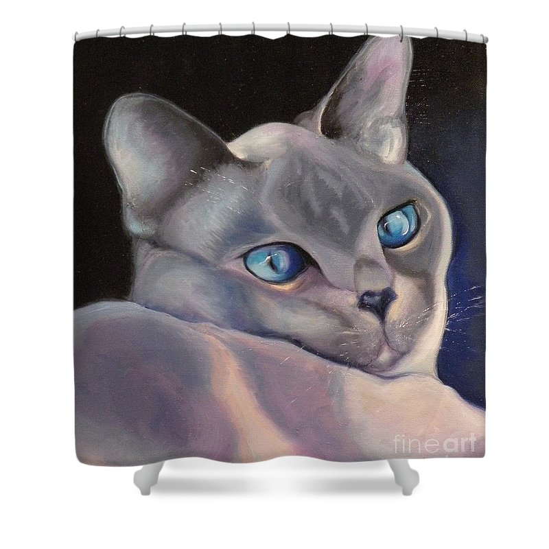Cat Siamese Greeting Card Shower Curtain featuring the painting Siamese In Blue by Susan A Becker