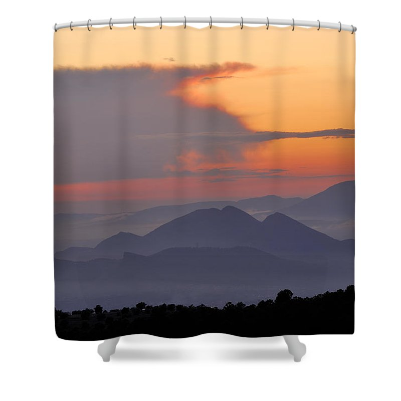 Sunset Shower Curtain featuring the photograph Sierra Elvira Mountains At Sunset by Guido Montanes Castillo