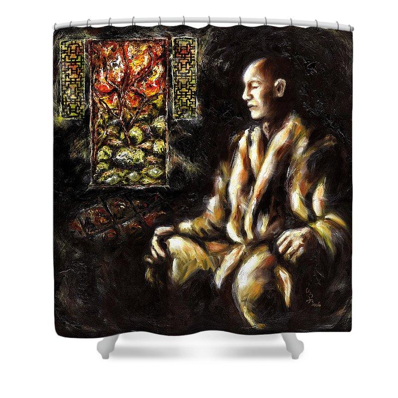 Zen Shower Curtain featuring the painting Silence by Hiroko Sakai