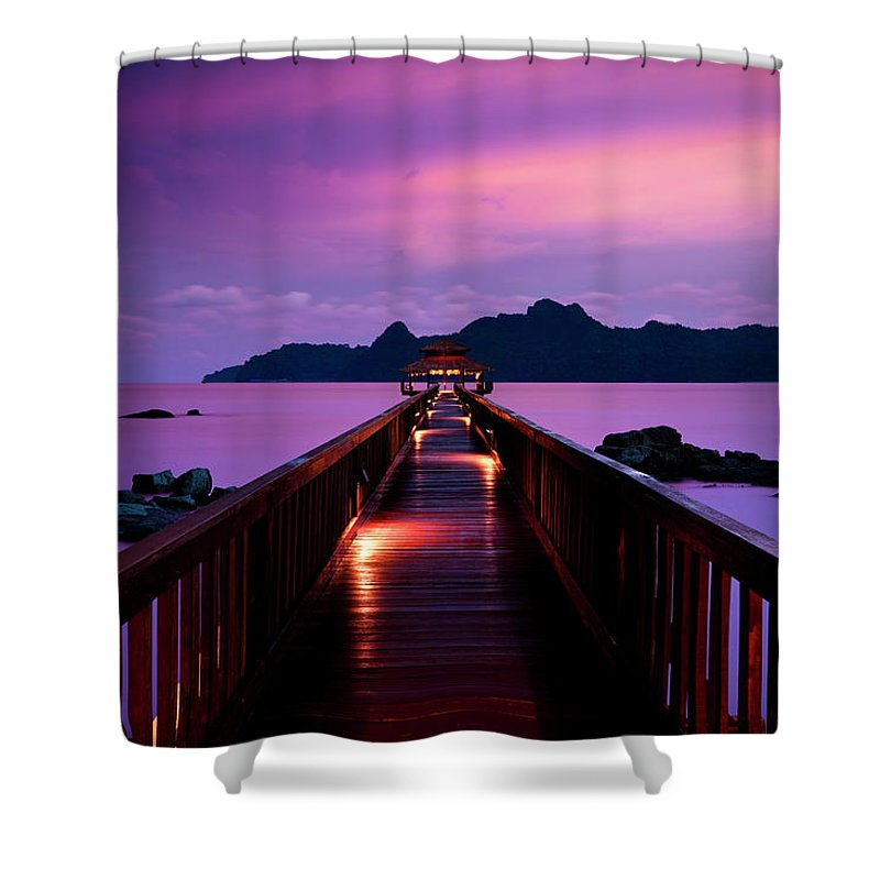 Water's Edge Shower Curtain featuring the photograph Silent Sunset In Pulau Langkawi by 35007
