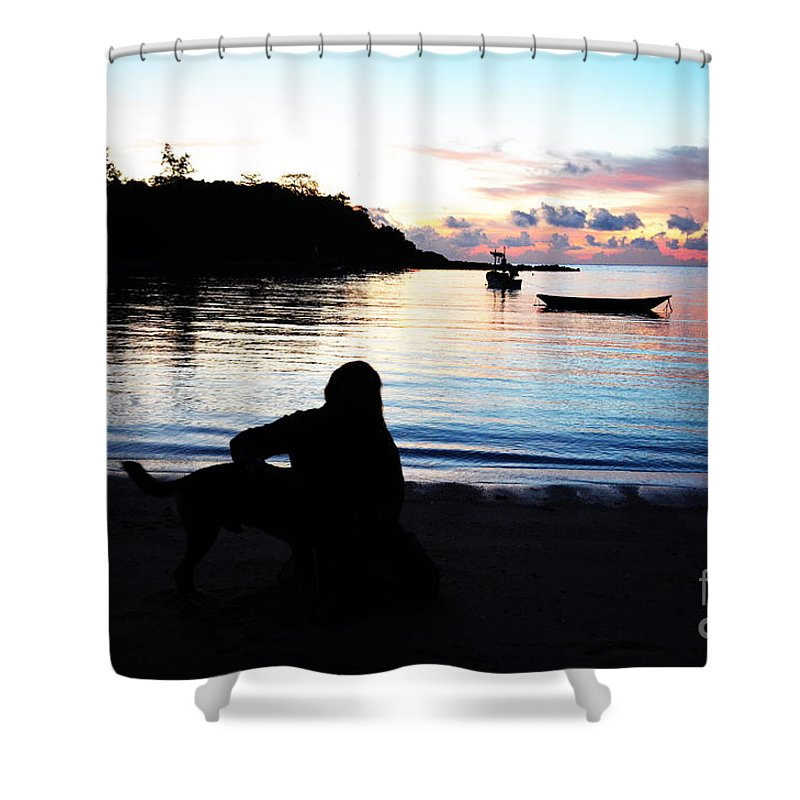 Michelle Meenawong Shower Curtain featuring the photograph Silhouette At Sunrise by Michelle Meenawong