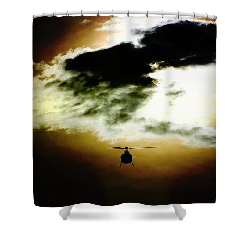 Eurocopter As350 B3 Shower Curtain featuring the photograph Silhouette Cloud by Paul Job