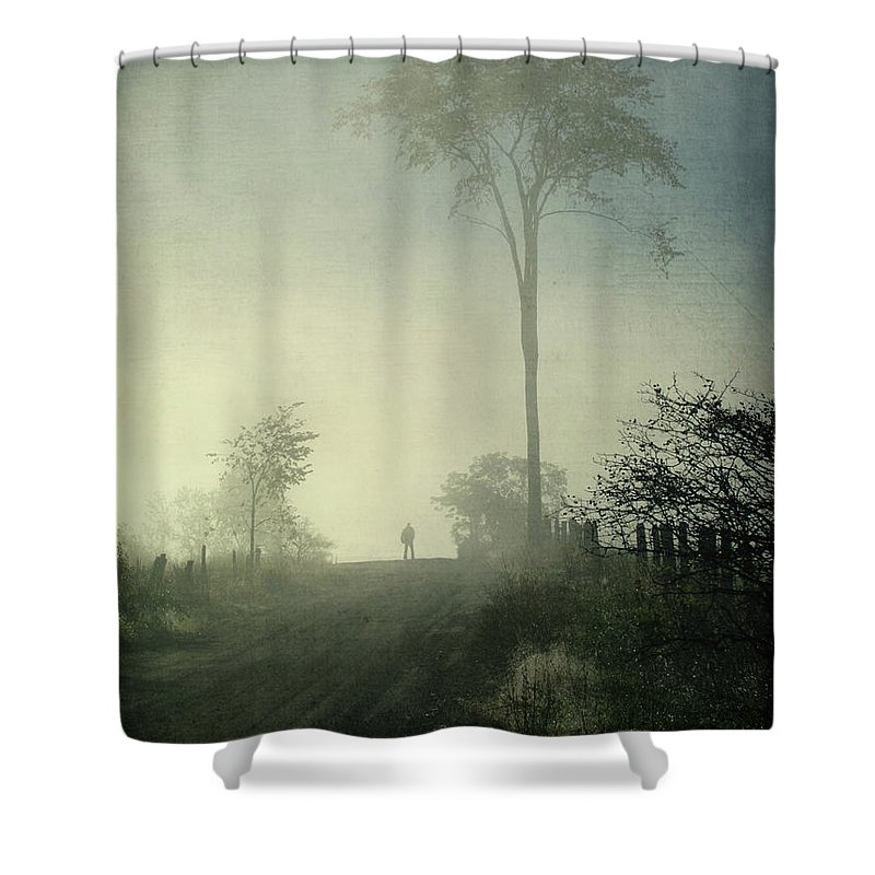 Tranquility Shower Curtain featuring the photograph Silhouette Of A Man In Fog by Francois Dion