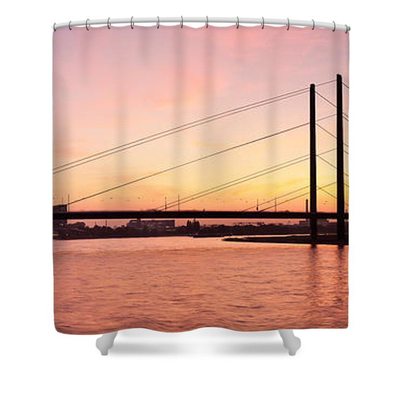 Photography Shower Curtain featuring the photograph Silhouette Of Rheinturm Tower by Panoramic Images
