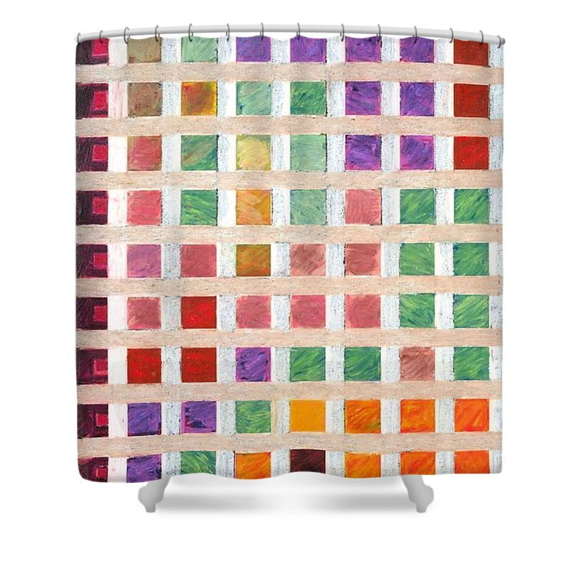 Landscape Shower Curtain featuring the painting Silicon Valley by Allan P Friedlander