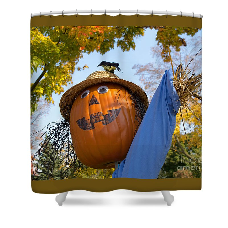 Scarecrow Shower Curtain featuring the photograph Silly Scarecrow by Ann Horn