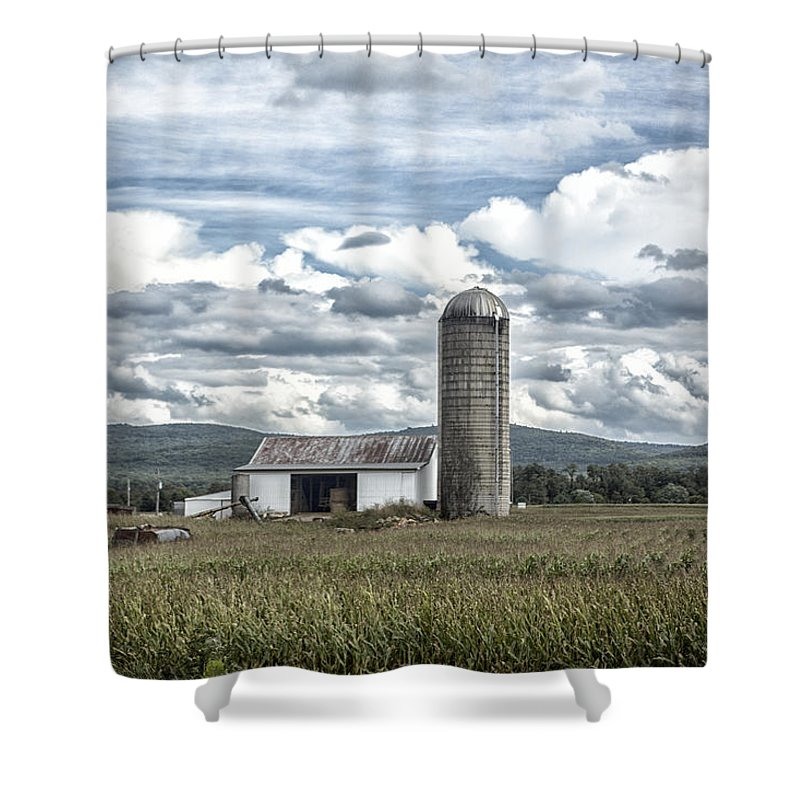Clouds Shower Curtain featuring the photograph Silo Sky by Rob Dietrich
