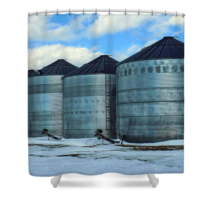 Farming Shower Curtain featuring the photograph Silos by William Tasker