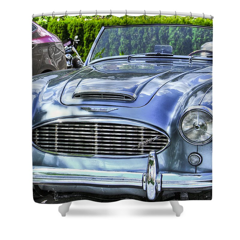 Headlamp Shower Curtain featuring the photograph Silver 1963 Austin Healey Roadster 3000 by Eti Reid