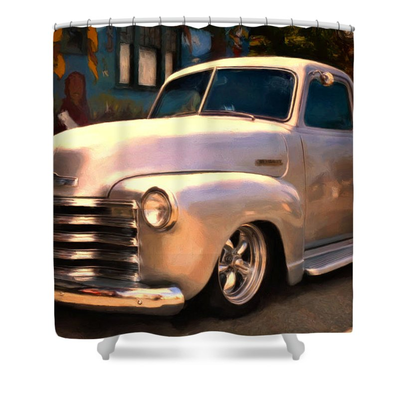 Chevy Pick Up Shower Curtain featuring the painting Silver Bullet by Michael Pickett