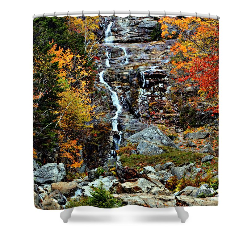 Waterfalls Shower Curtain featuring the photograph Silver Cascade by Nikolyn McDonald