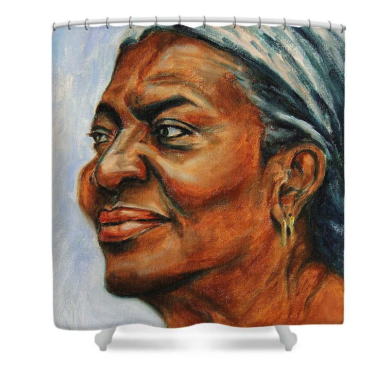 Soul-mate Shower Curtain featuring the painting Silver Girl by Xueling Zou