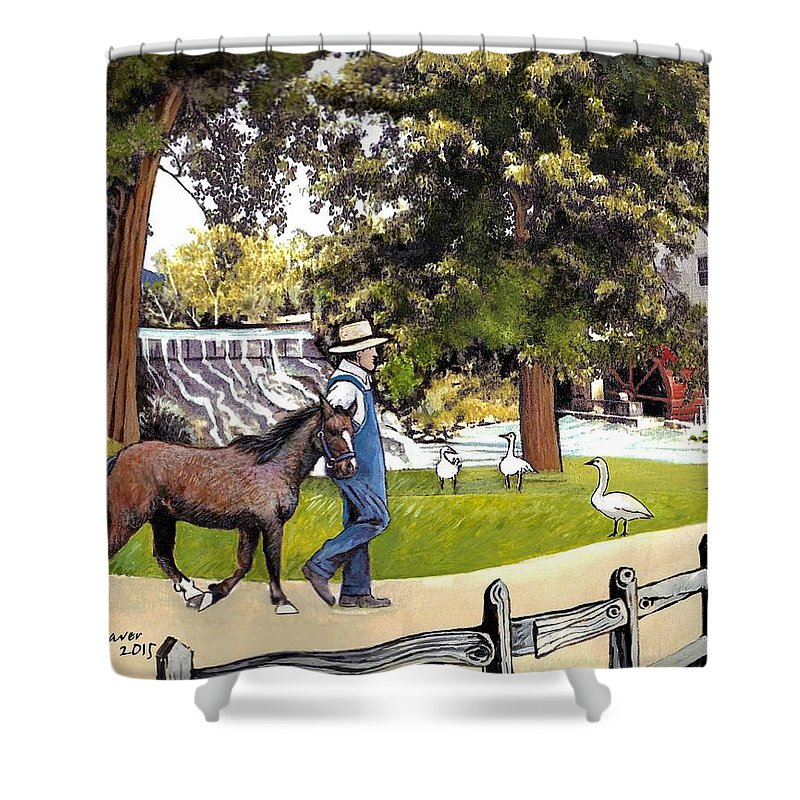 Silver Lake Mill Shower Curtain featuring the painting Silver Lake Mill-shenandoah Valley by Joan Shaver