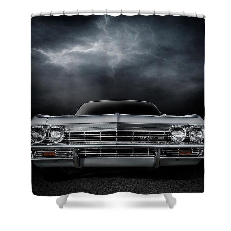 Car Shower Curtain featuring the digital art Silver Sixty Five by Douglas Pittman