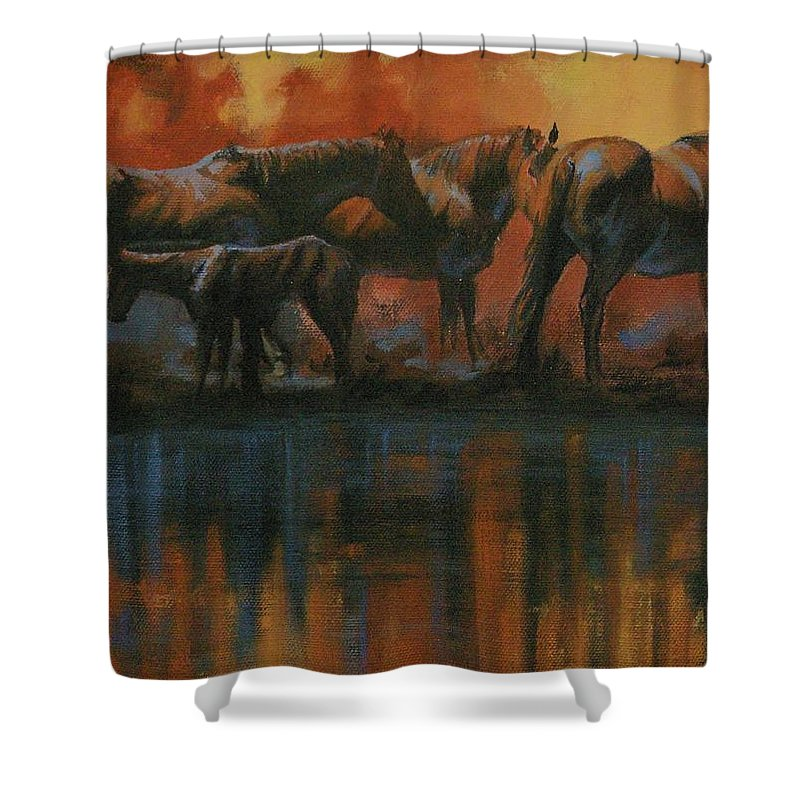 Horses Shower Curtain featuring the painting Simmerdim by Mia DeLode