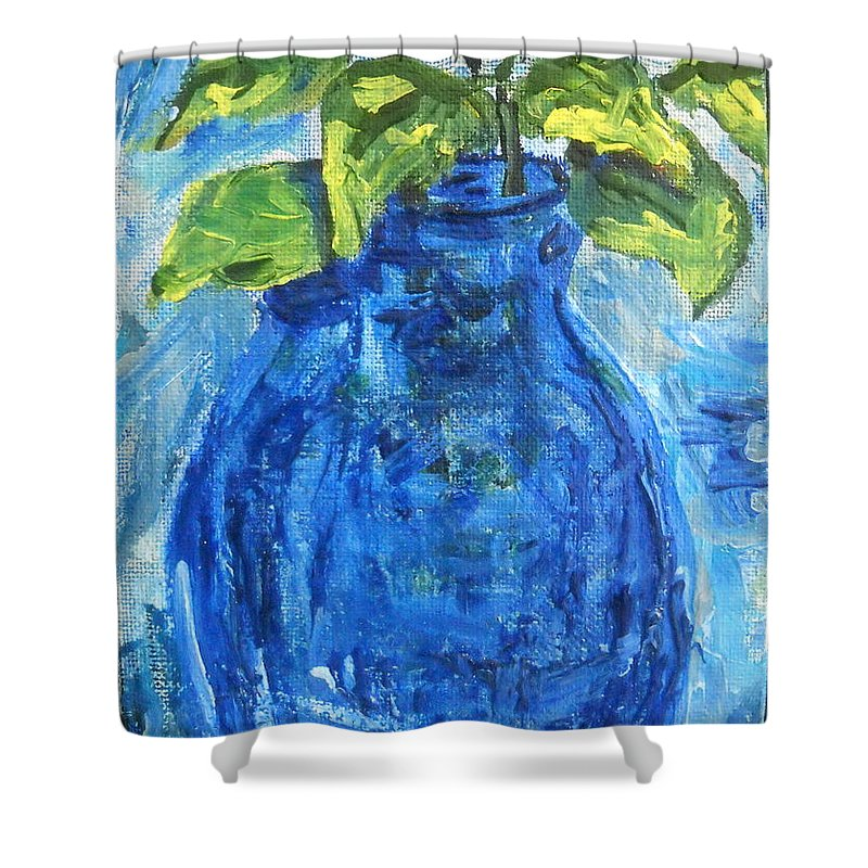 Botanical Shower Curtain featuring the painting Simple Greens by Reina Resto