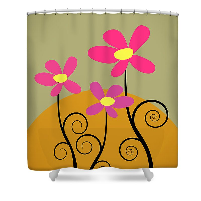 An Illustration Of 3 Flowers. Shower Curtain featuring the photograph Simply Flowers by Sharon Dominick