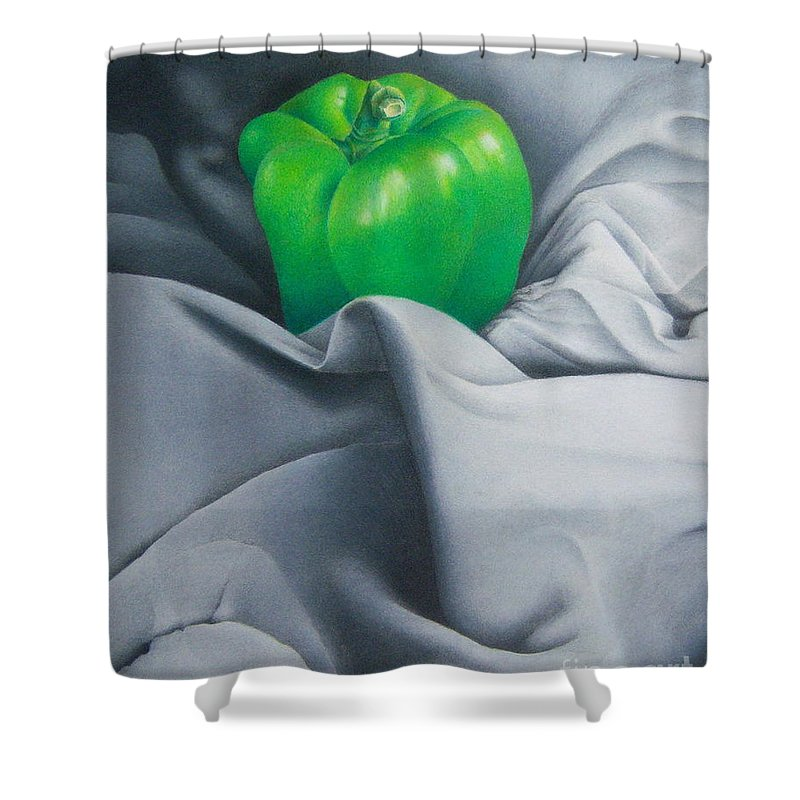 Colored Pencil Shower Curtain featuring the painting Simply Green by Pamela Clements